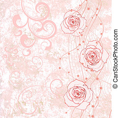 pink roses grunge illustration with flourishes for wedding or birthday