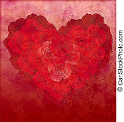 red roses heart on red grunge background love or wedding illustration