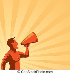 Man with Loudspeaker - An illustration of a man with...