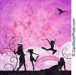 fashion girls silhouettes on grunge pink and violet background