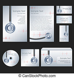 Medical Template - illustration of set of stationery for...