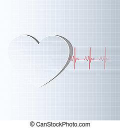 vida, linha, vinda, Coração