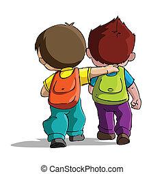 dzieciaki, chodzenie, szkoła