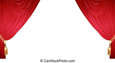 Theater curtain background - Red curtain of a classical...