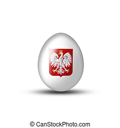 Egg white with a Polish coat of arms