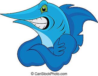 funny marlin fish - illustration of funny marlin fish