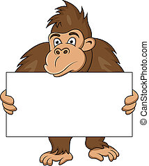 gorilla with blank sign - illustration of gorilla with blank...
