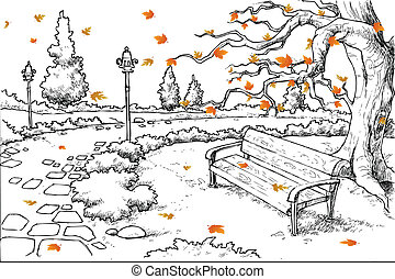Sketch of Autumn Background - illustration of sketch of...