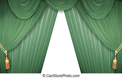 Green curtain of a theater
