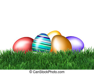Easter Eggs in green grass - Beautiful decorations for the...