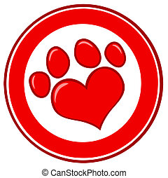 Love Paw Print Banner - Red And White Heart Shaped Dog Paw...
