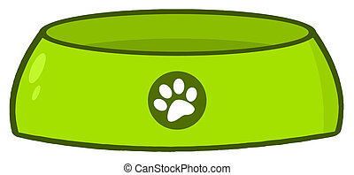 Empty Dog Bowl - Green Dog Bowl Food Dish With A Paw Print