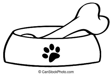 Outlined Dog Bowl With Big Bone Cartoon Character