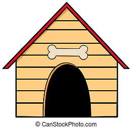 Dog House With A Bone Above The Door