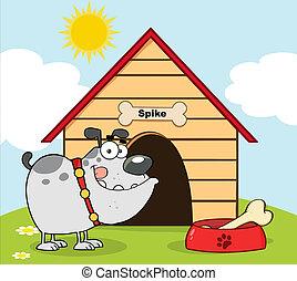 Gray Bulldog With Bowl And Bone