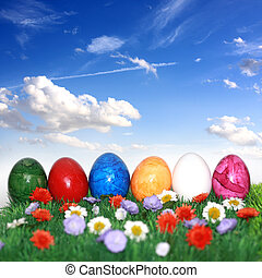 Easter eggs in grass - Beautiful decorations for the Easter