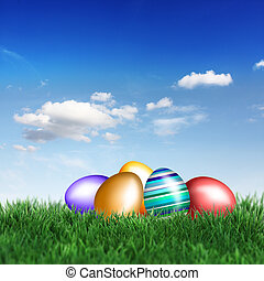 eastereggs in grass - Beautiful decorations for the Easter