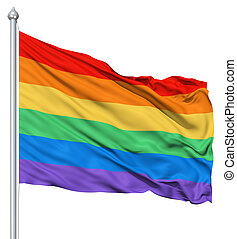 Rainbow gay flag - RAinbow gay flag waving in the wind