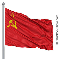 Flag of USSR - USSR national flag waving in the wind