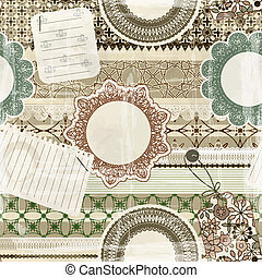 vector  seamless pattern with scrapbook elements