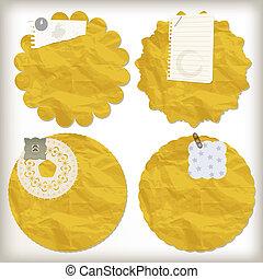 vector scrapbook design elements, crumpled paper napkins