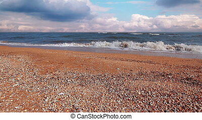 sea-piece - day, sky, sea, wave, beach, cloud, sunny, ocean