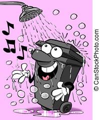 Bin & shower. - Cartoon wheelie bin singing in shower.