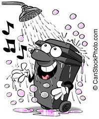 Bin & shower.WBG - Cartoon wheelie bin singing in shower....