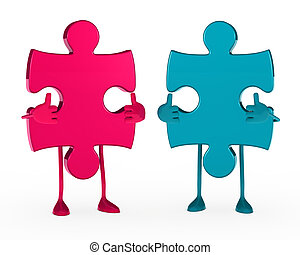 two puzzle figure