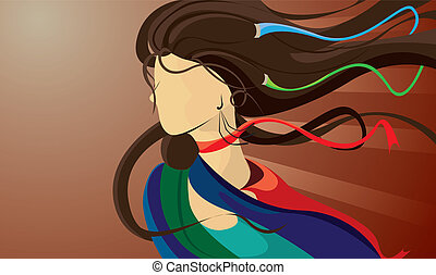 image of a woman with flowing hair