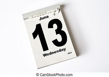 13. June 2012 - calendar sheet