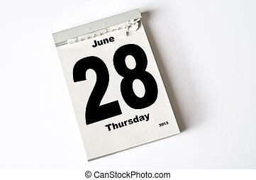 28. June 2012 - calendar sheet