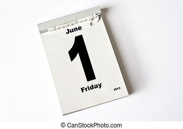 1. June 2012 - calendar sheet