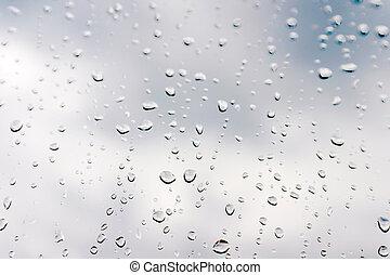 Drops of rain on the window glass Shallow DOF