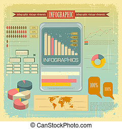 Vintage infographics set - mobile phone icons and elements...
