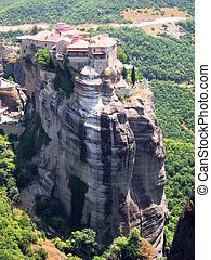Monastery on top rock Meteora in G - High cliffs and rocks,...