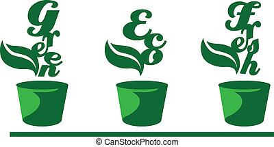 Green words in pots