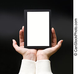 Female hands with electronic book