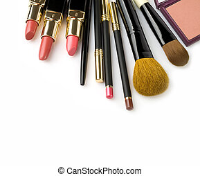 cosmetics - makeup brush and cosmetics, on a white...