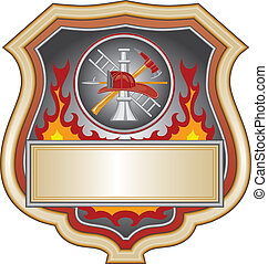 Firefighter Shield - Illustration of a firefighter or fire...