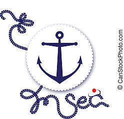 Nautical design, anchor and rope