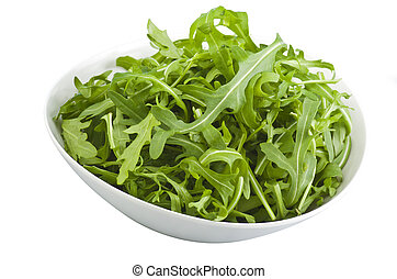 Fresh Arugula Green in White Bowl