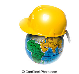 planet in the construction helmet