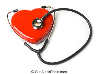 cardio care - stethoscope and a red heart on white...