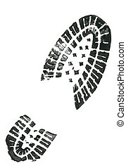Shoe print - Black shoe print on white background