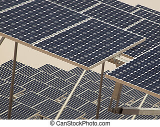 Solar Panels in a Power Plant - A series of large solar...