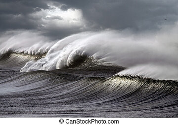 Stormy waves - Big stormy waves crashing over Portuguese...