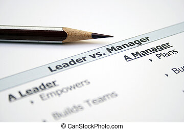 Leader versus manager
