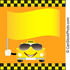 cartoon cab with banner - cartoon smiling cab with banner...