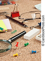 office supplies in a mess on the table - stationery in a...